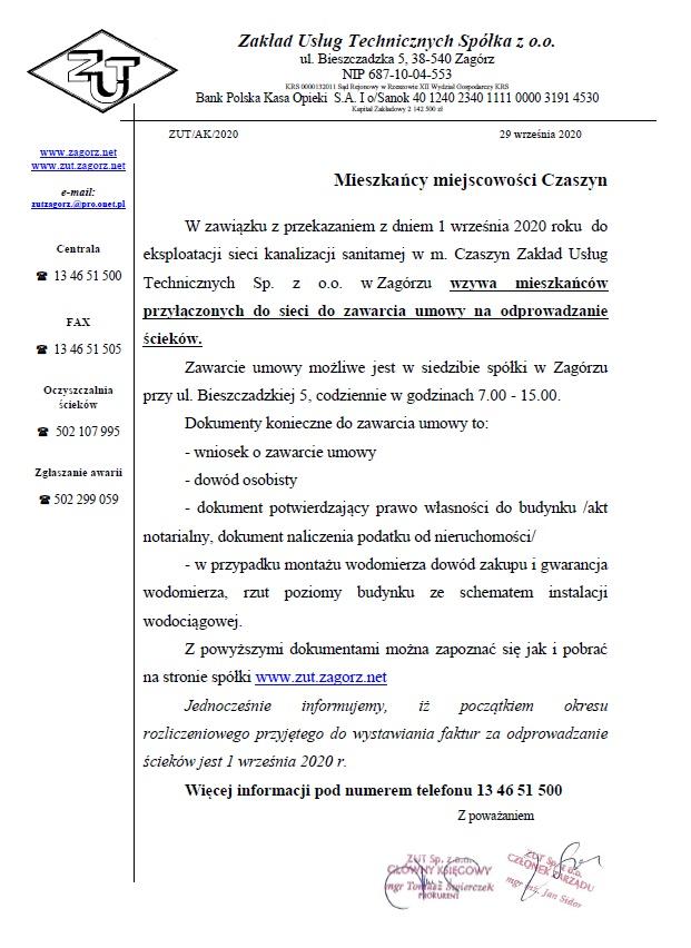 Ogłoszenie Czaszyn